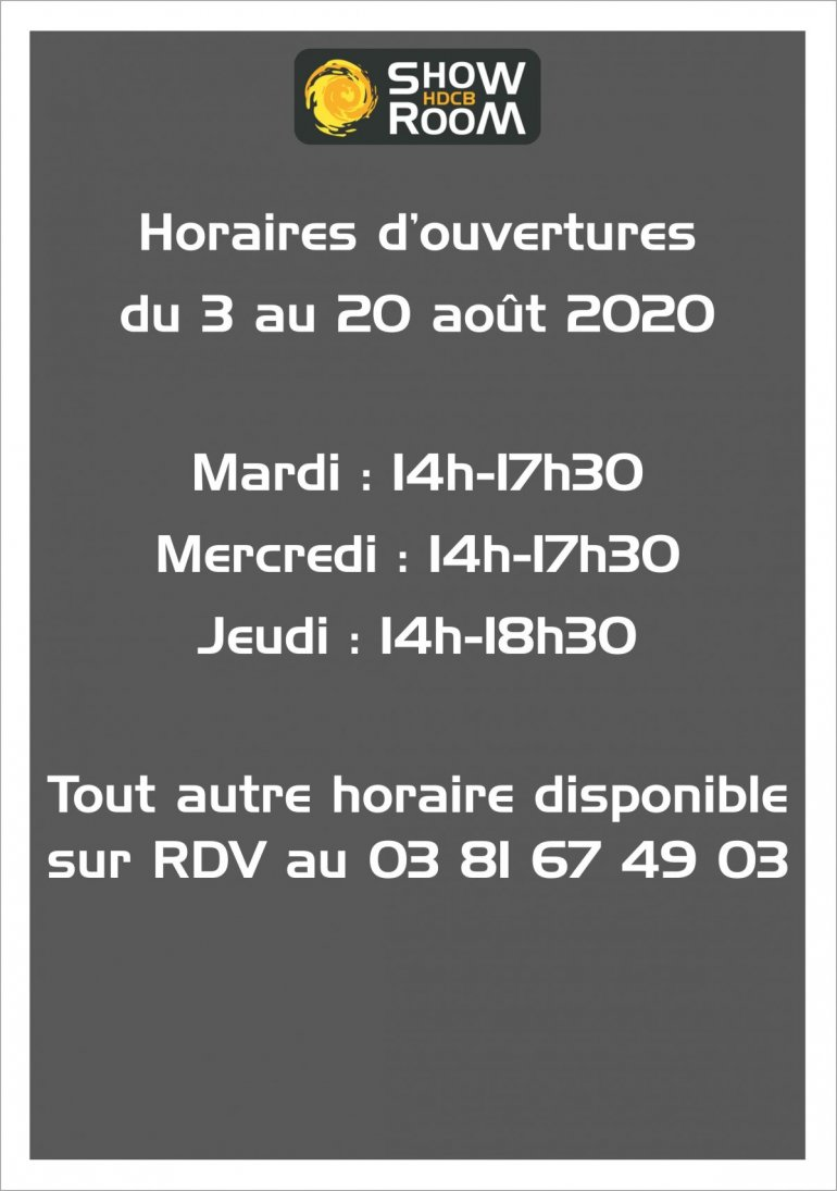 HORAIRES ETE 2020 SHOWROOM PONTARLIER